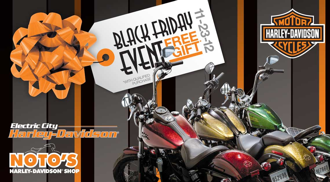 Electric City Harley Davidson Black Friday Post Card by Rooster Creative Front