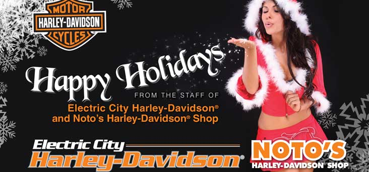 Electric City Harley Davidson Christmas Post Card by Rooster Creative Thumbnail