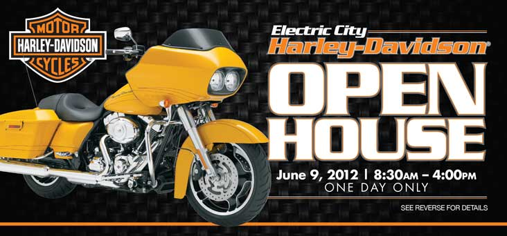 Electric City Harley Davidson Open House Post Card by Rooster Creative Thumbnail