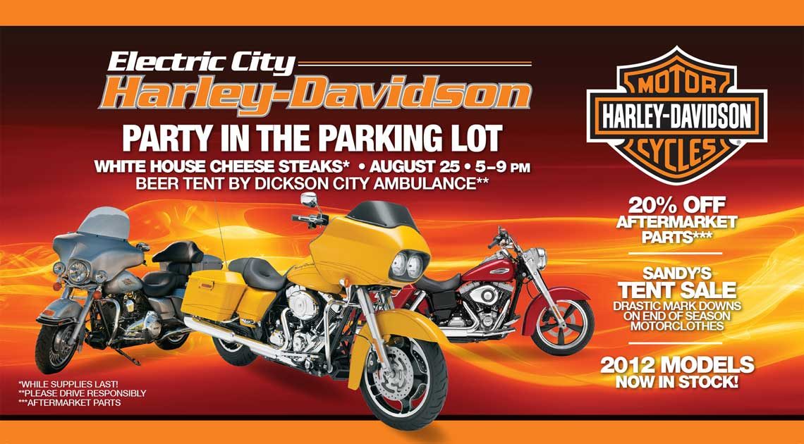 Electric City Harley Party in the Parking Lot Post Card Front