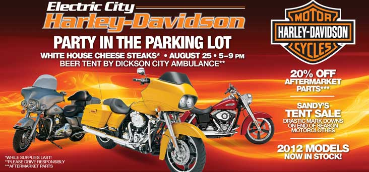 Electric City Harley Party in the Parking Lot Post Card Thumbnail