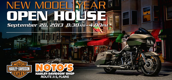 noto harley davidson new model year post card rooster creative
