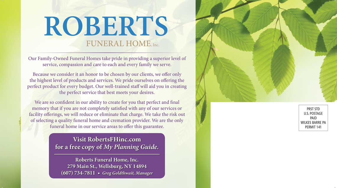 Roberts Funeral Home Post Card Back by Rooster Creative