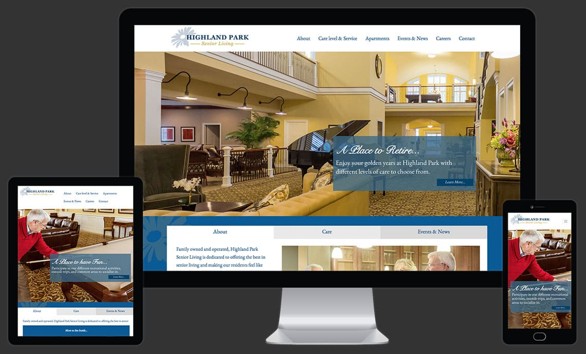 Highland Park Senior Living Website by Rooster Creative Views